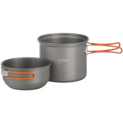 1 Person Hard Anodised Cook kit 2 pots with lid /mug combination and storage bag - 2014