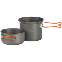 2 Person Hard Anodised Cook kit 2 pots with lid /mug combination and storage bag - 2014