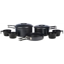 4 Person Non-Stick Cook Kit 2 pots with lids, frying pan, 4 cups, and carry bag - 2014
