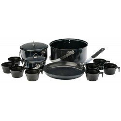 8 Person Non-Stick Cook Kit 3 pots with lids one can be used as frying pan with removable handle 8 cups and carry bag - 2014