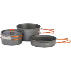 Adventure Cook Kit large pot, small pot with lid, frying pan and storage bag - 2014